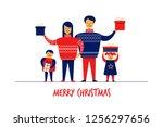 flat cartoon boy girl family... | Shutterstock . vector #1256297656