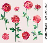 Stock vector red roses with green leaves and stems on a white background imitation of watercolor vector 1256298250