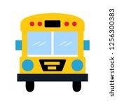 school bus flat multi color icon | Shutterstock .eps vector #1256300383