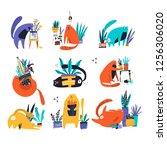 guilty cat flat hand drawn... | Shutterstock .eps vector #1256306020
