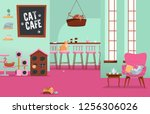 Interior Cat Cafe. Cozy Place...