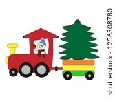 funny christmas snowman on a...   Shutterstock .eps vector #1256308780