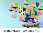 network data in hand | Shutterstock . vector #1256309713