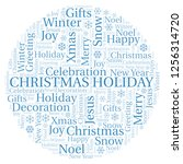 christmas holiday word cloud. | Shutterstock . vector #1256314720