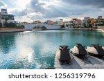 beautiful marina in the city of ... | Shutterstock . vector #1256319796