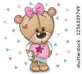 cute cartoon teddy bear girl... | Shutterstock .eps vector #1256339749