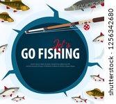 winter ice fishing on the lake. ... | Shutterstock .eps vector #1256342680