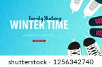 banner with ice skates. figure... | Shutterstock .eps vector #1256342740