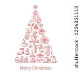 christmas tree made of doodle... | Shutterstock .eps vector #1256351113