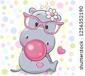 cute cartoon hippo in a pink... | Shutterstock .eps vector #1256352190