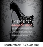 illustrated elegant black lace... | Shutterstock .eps vector #125635400