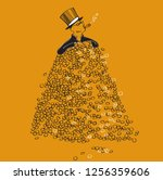 rich man in a top hat and... | Shutterstock .eps vector #1256359606