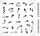 hand drawn arrows  vector set | Shutterstock .eps vector #1256361430