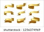 set of gold ribbon on white... | Shutterstock .eps vector #1256374969