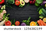 fresh vegetables and fruits.... | Shutterstock . vector #1256382199