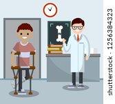 broken leg. a man on crutches...   Shutterstock .eps vector #1256384323