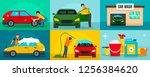 car wash cleaning banner set.... | Shutterstock . vector #1256384620