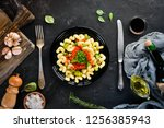 pasta with vegetables. on a... | Shutterstock . vector #1256385943