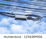 cable box or outdoor internet... | Shutterstock . vector #1256389006