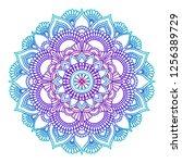 gradient mandala. circle ethnic ... | Shutterstock .eps vector #1256389729