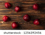 top view of ripe red delicious... | Shutterstock . vector #1256392456