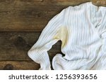 yellow stain on  jacket on the... | Shutterstock . vector #1256393656