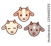 cute cartoon baby goat face set.... | Shutterstock .eps vector #1256400253