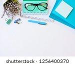 home office workspace mockup... | Shutterstock . vector #1256400370