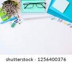 home office workspace mockup... | Shutterstock . vector #1256400376