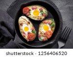 keto diet dish  avocado boats...   Shutterstock . vector #1256406520