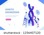 genetic scientists edit dna.... | Shutterstock .eps vector #1256407120
