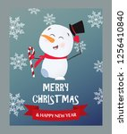merry christmas lettering and... | Shutterstock .eps vector #1256410840