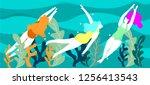 people in sea or ocean... | Shutterstock .eps vector #1256413543