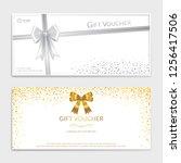 gold glitter gift voucher ... | Shutterstock .eps vector #1256417506