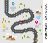 winding road with location signs | Shutterstock .eps vector #1256429023