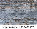 Small photo of Texture Or Background Of Cut Of Breakaway Rock. Layers Of Rock Cut. Grey Layered Background
