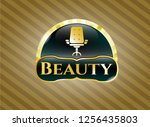 gold shiny badge with office... | Shutterstock .eps vector #1256435803