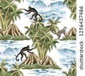 hawaiian vintage island  palm... | Shutterstock .eps vector #1256437486