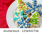 snowflake and christmas tree... | Shutterstock . vector #1256441746
