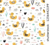seamless pattern with cute baby ... | Shutterstock .eps vector #1256442199