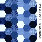 monotone blue color geometric... | Shutterstock .eps vector #1256445166