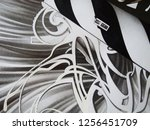 abstract black and white waves  ... | Shutterstock . vector #1256451709