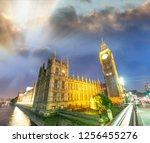 westminster bridge at night ... | Shutterstock . vector #1256455276