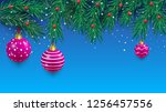 blue christmas background with... | Shutterstock .eps vector #1256457556