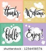 vector calligraphic set of... | Shutterstock .eps vector #1256458576