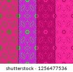 set of ornamental flower design.... | Shutterstock .eps vector #1256477536