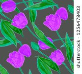 floral seamless pattern with... | Shutterstock . vector #1256478403