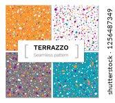 vector set of seamless terrazzo ... | Shutterstock .eps vector #1256487349