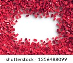 pile of red toy bricks in shape ... | Shutterstock . vector #1256488099