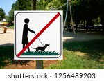 prohibition sign for dog ban in ... | Shutterstock . vector #1256489203